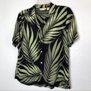 Tommy Bahama Palm Leaf Tropical Silk Button Up Top